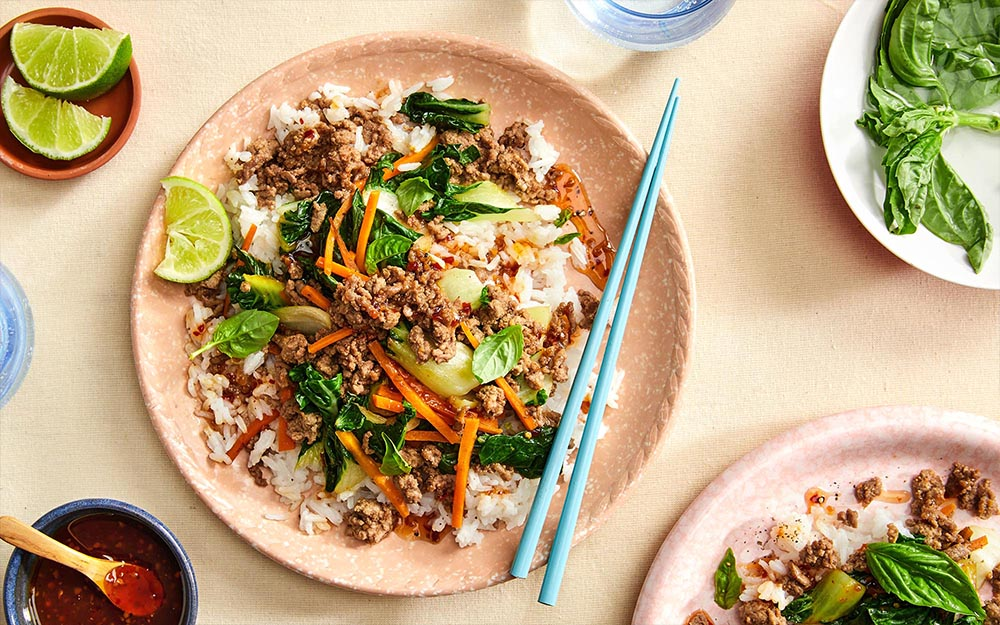 Basil Beef Larb with rice & sweet and spicy sauce,