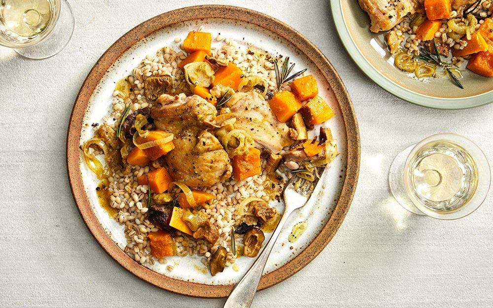 Rosemary Chicken and Squash Skillet with mushroom broth and barley,