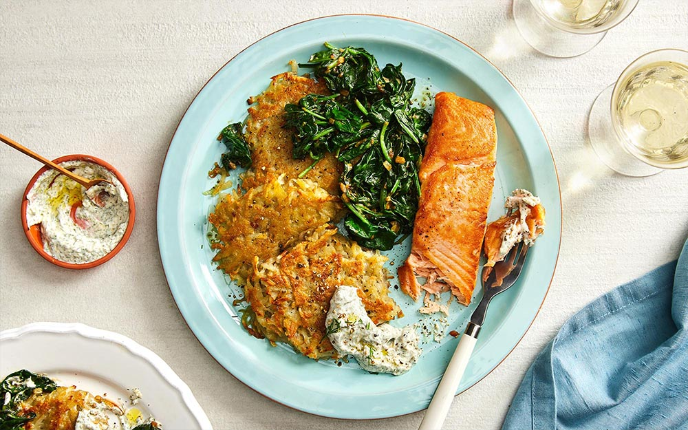 Seared Salmon & Potato Latkes with creamed spinach,