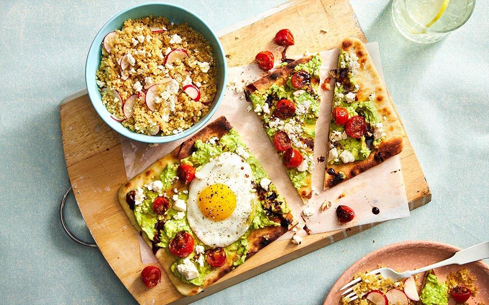 Feta & Avocado Flatbreads with balsamic glaze and quinoa salad,