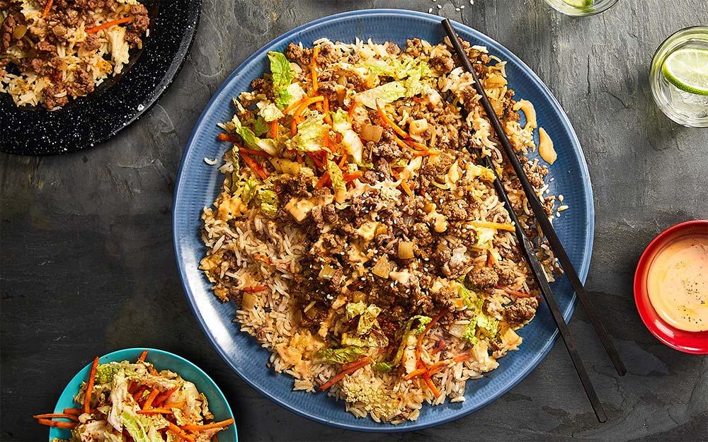 Korean Beef & Kimchi Taco Bowls with basmati rice and ssamjang mayo,