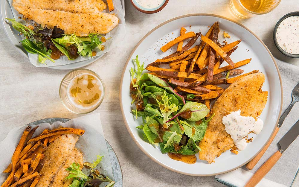 Crispy Baked Fish n' Chips with sweet potatoes and tartar sauce,