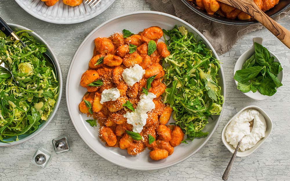 Balsamic Marinara & Ricotta Gnocchi with a Brussels sprout and arugula salad,