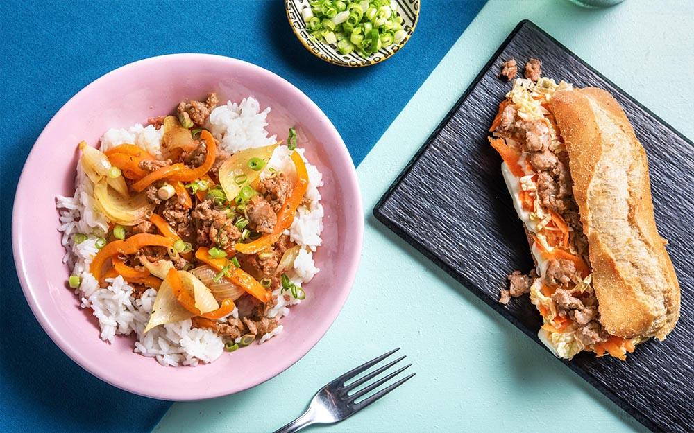 Pork Moo Pad Prik Thai Dam Spicy Pork Sausage Sandwiches,