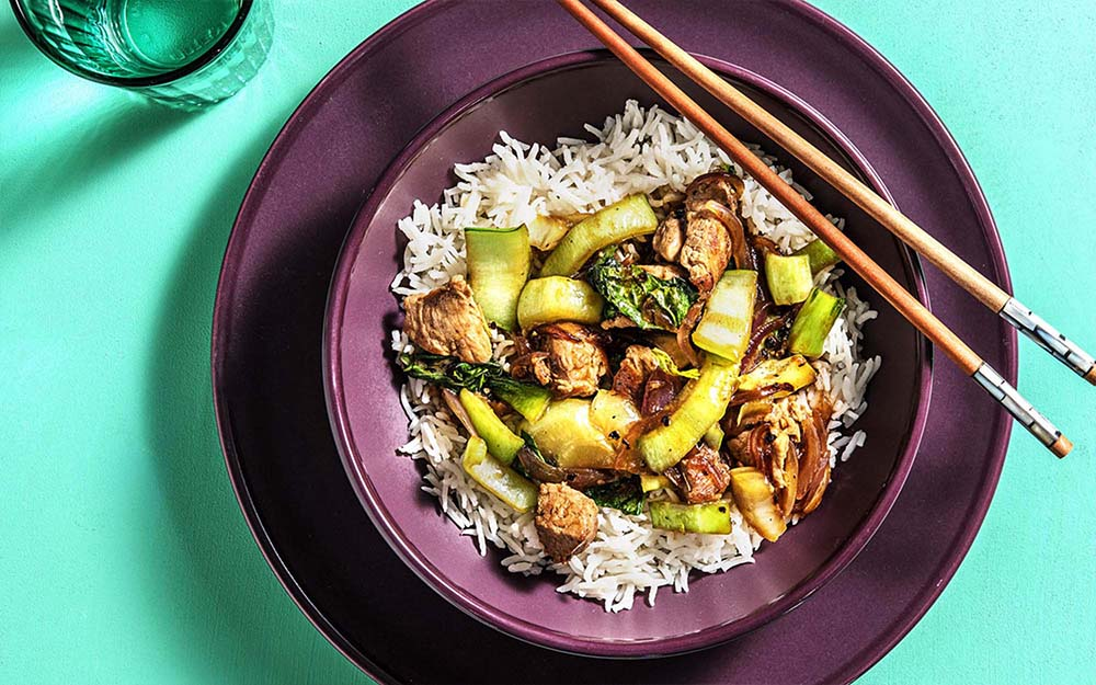 Pork Adobo Stir Fry with basmati rice and bok choy,