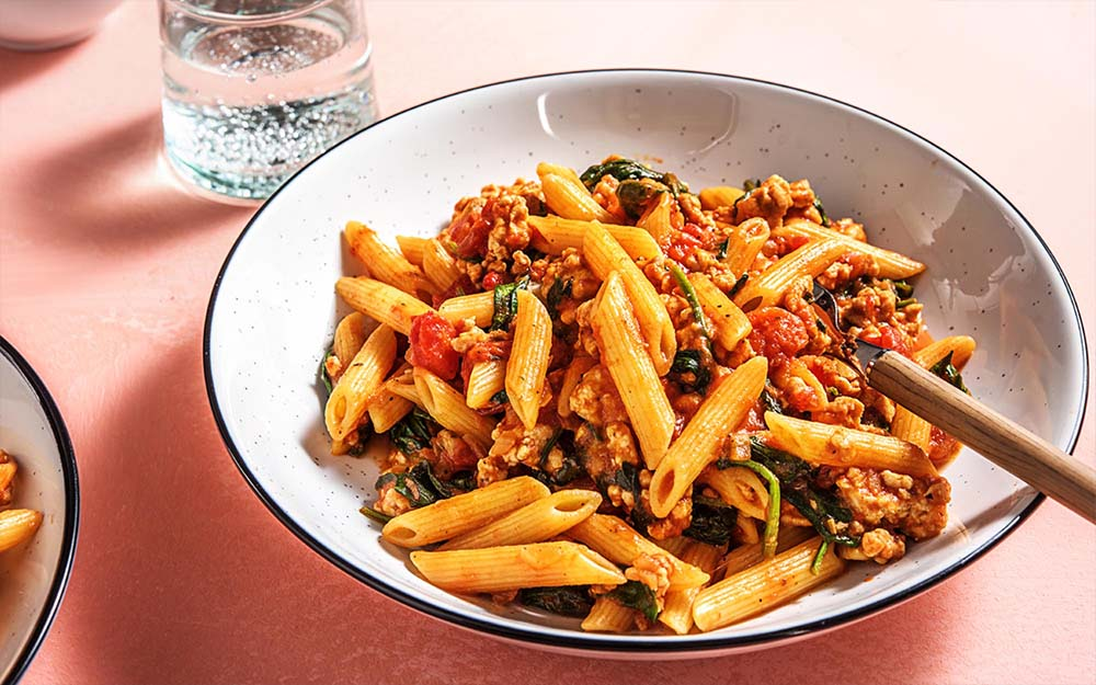 Two Cheese Chicken Pasta with spinach and marinara sauce,