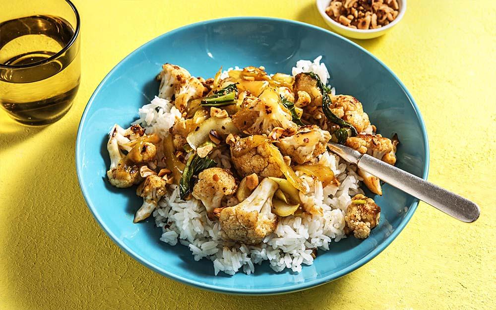 Szechuan Cauliflower Stir Fry with jasmine rice,