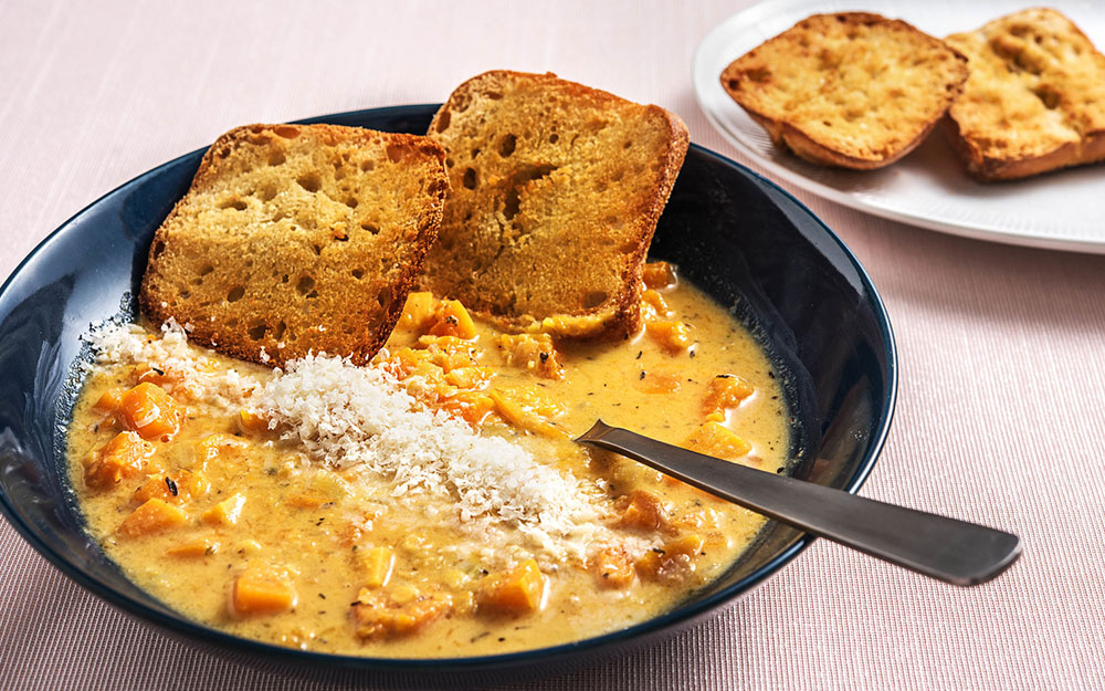 Roasted Squash and Lentil Chowder with ciabatta toasties,