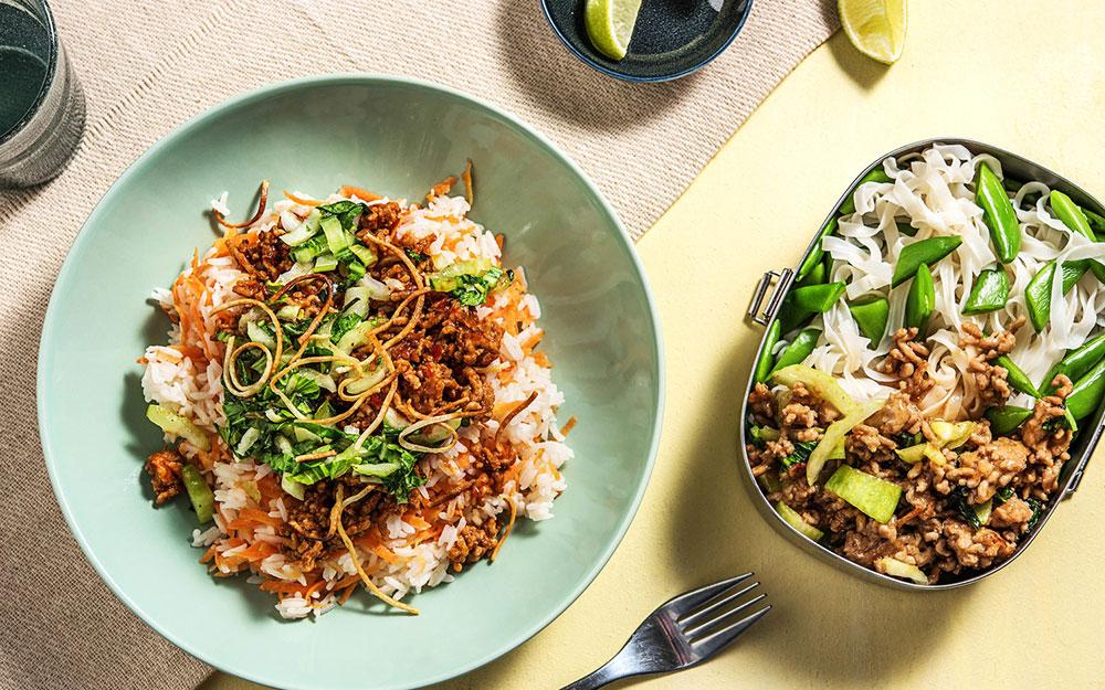 Szechuan Pork Bowl Ginger-Lime Pork & Noodles,