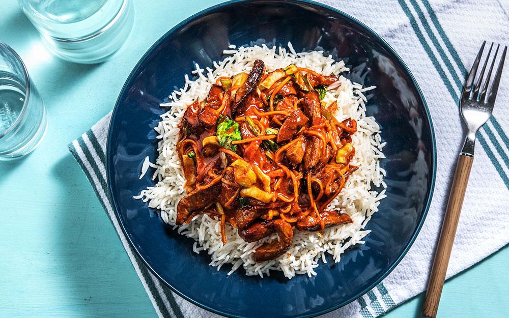 Ssamjang Beef Stir Fry with basmati rice,