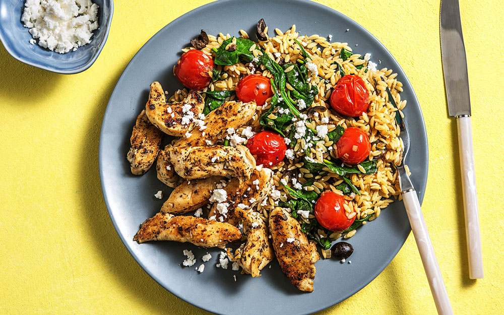 Spiced Greek Chicken Tenders with feta and tomato orzo,