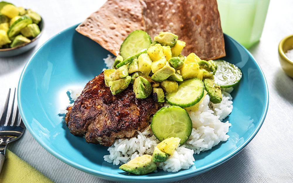 Hawaiian Pork & Avocado Bowl with pineapple salsa,