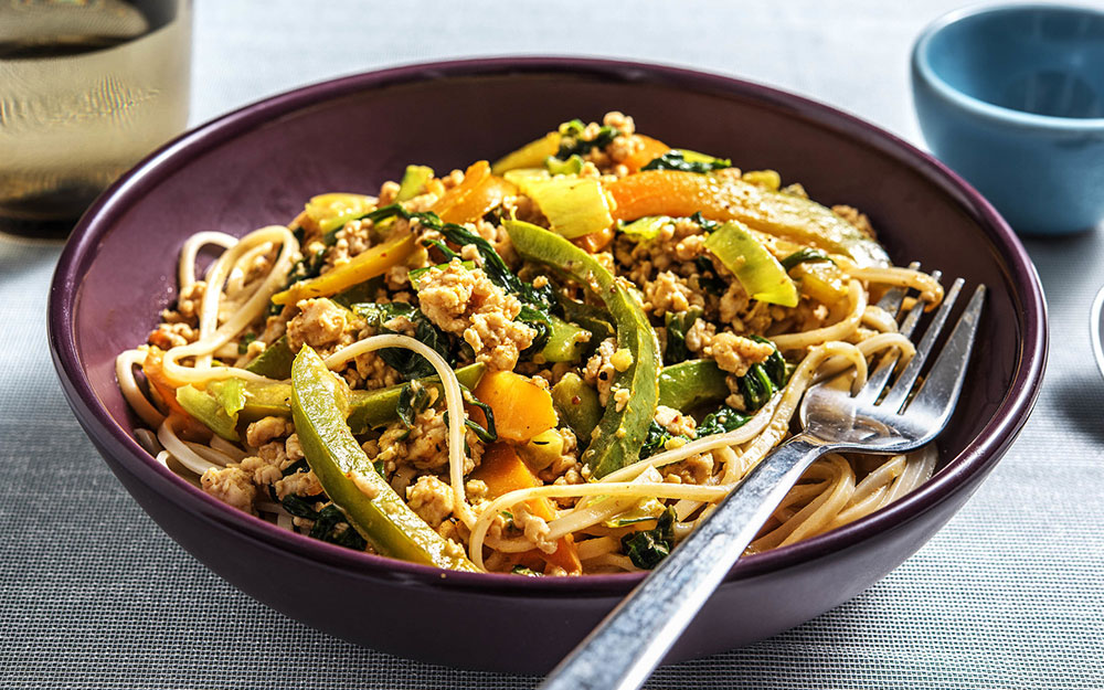 Thai Turkey Stir Fried Noodles with coconut green curry sauce,
