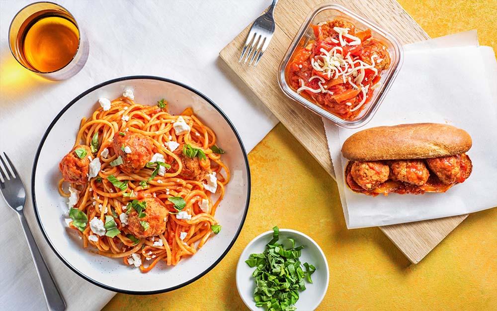 Saucy Pork Meatballs & Pepper Pasta for Dinner Pork Meatball Sandwiches for Lunch,
