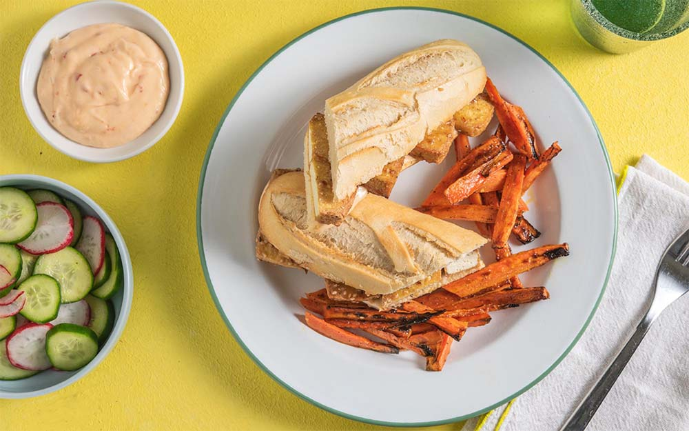 Tofu Banh Mi with carrot fries, pickled veggies and spicy mayo,