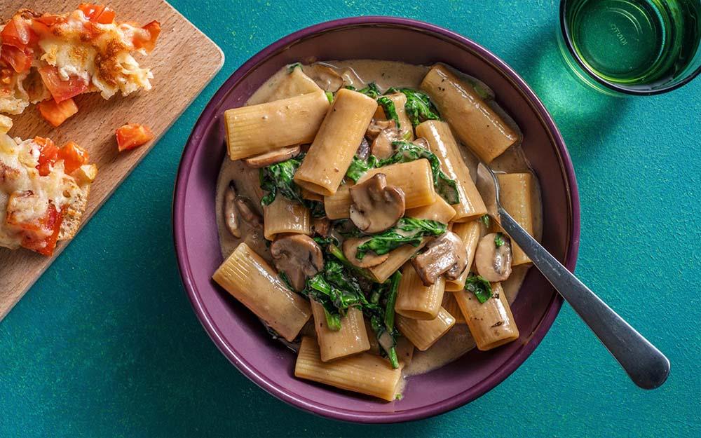 One Pot Mushroom Rigatoni with tomato-parmesan toastie,