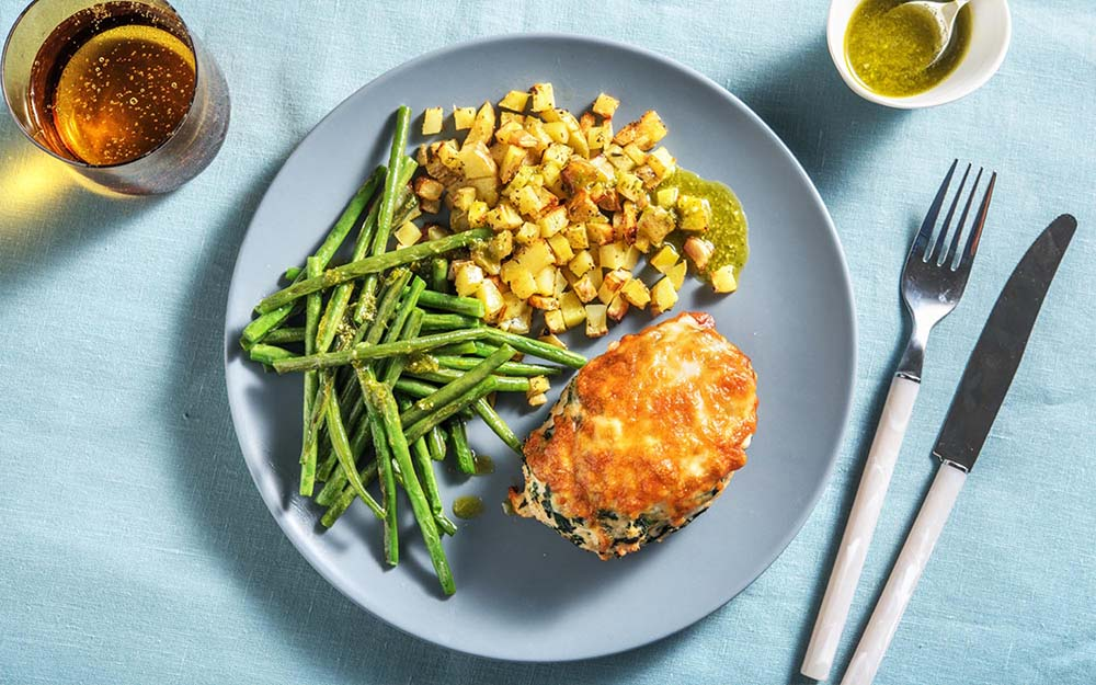 Turkey Florentine Meatloaf with green beans and roasted potatoes,
