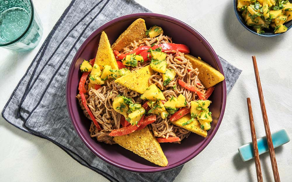 Tofu Noodle Bowl with fresh mango salsa,