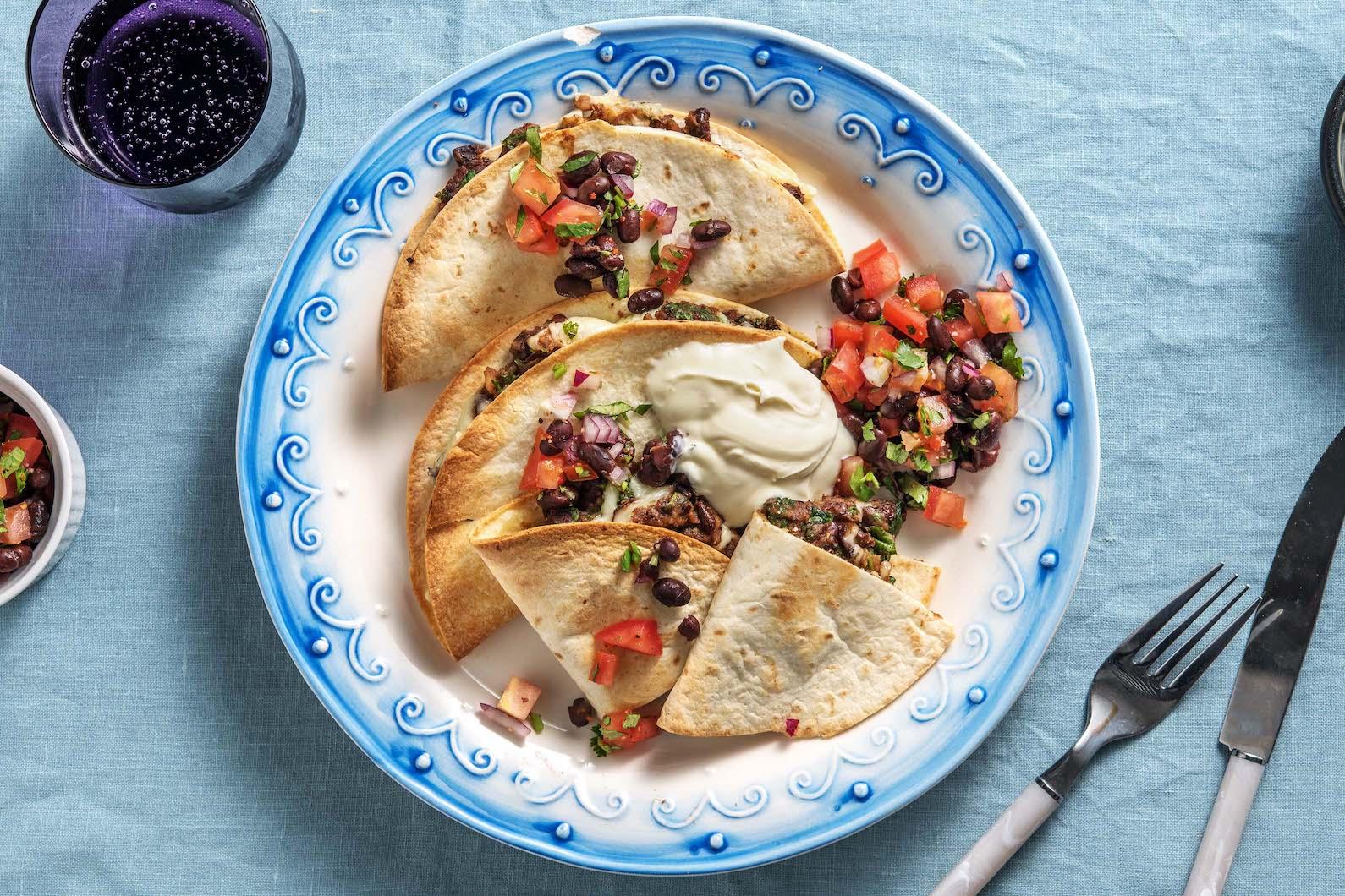 Smoky Bean and Cheese Quesadillas with black bean pico de gallo,