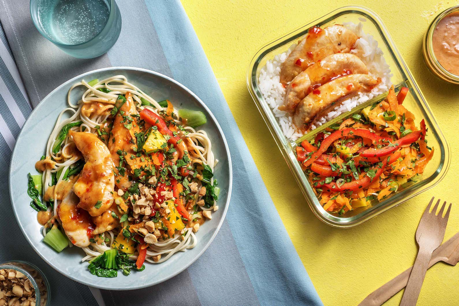 Thai Chicken Peanut Noodles for Dinner Thai Chicken with Rice and Mango Salad for lunch,
