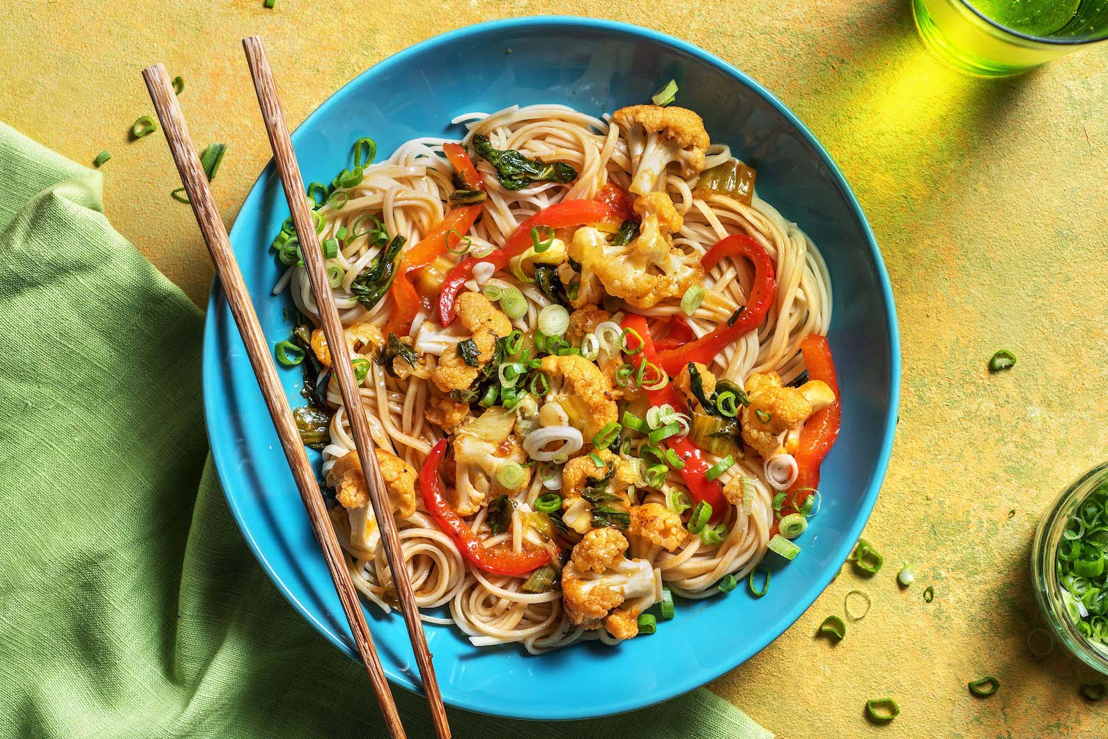 Vegetable Lo Mein with a sweet chili soy sauce,