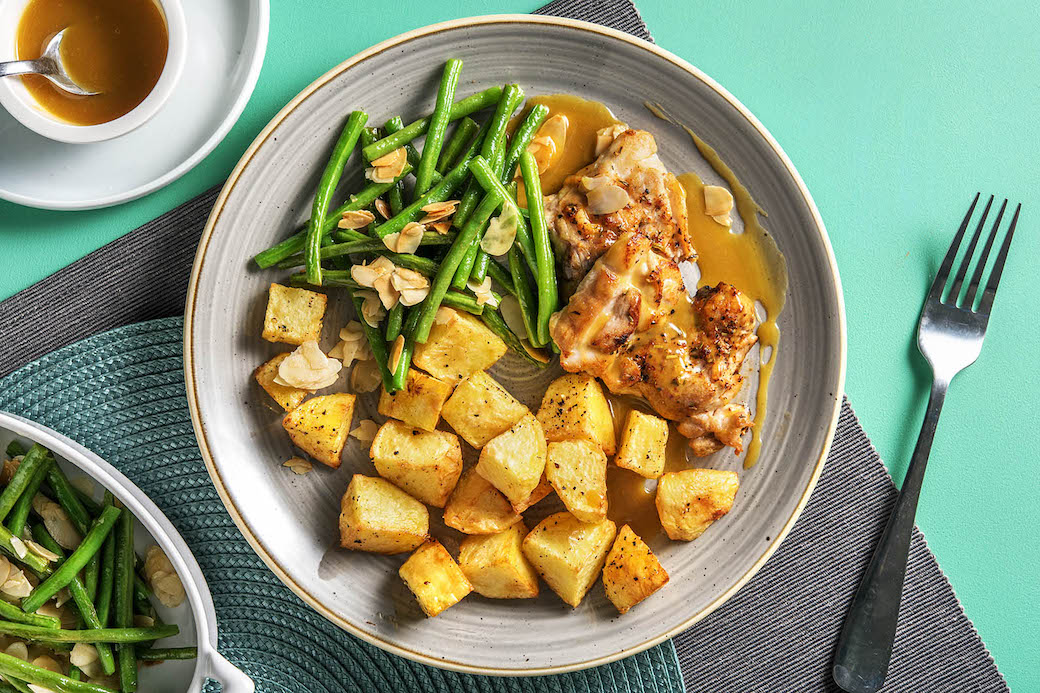 Honey Dijon Chicken with sauteed green beans and roasted potatoes