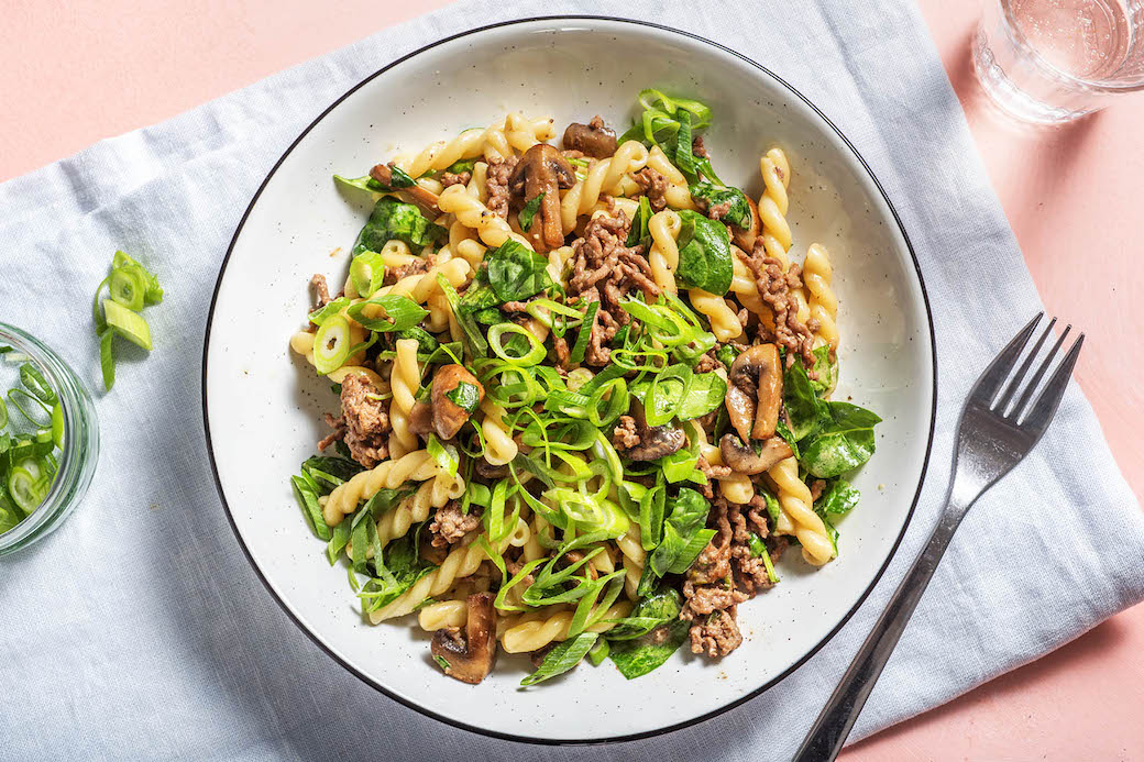 Creamy Beef Stroganoff with gemelli pasta and mushrooms