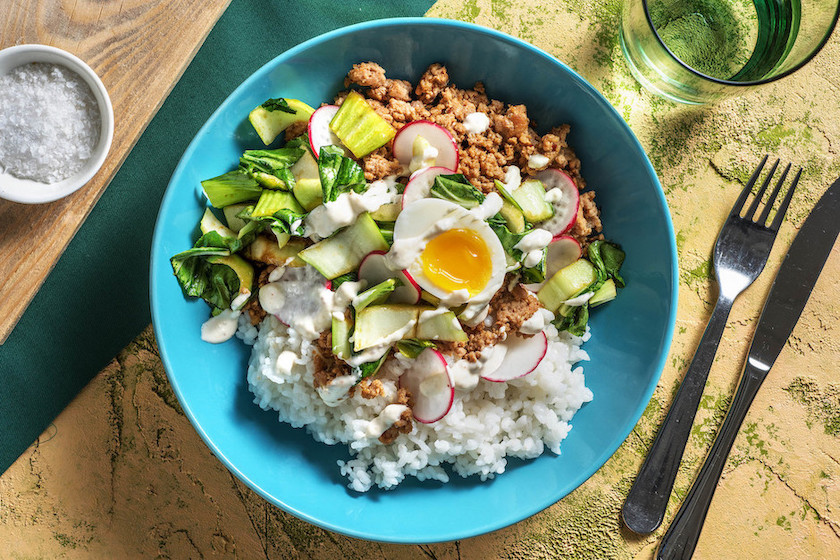 Japanese Pork Rice Bowl with sauteed bok choy and soft boiled egg