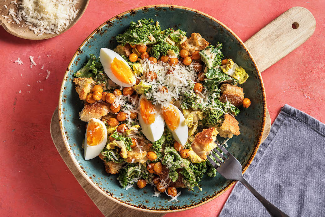 Smoky Chickpea Caesar Salad with kale and homemade garlic croutons