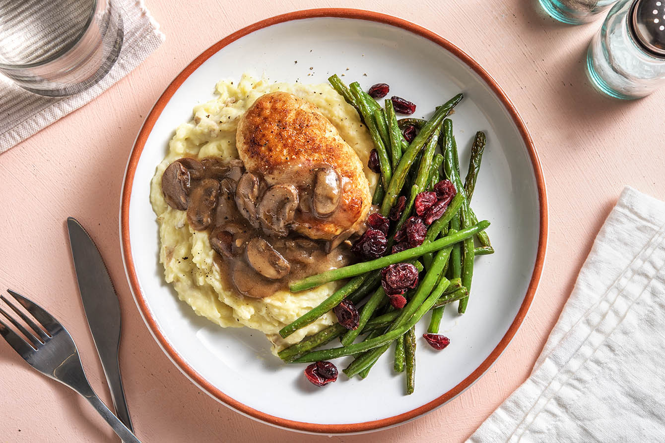 Holiday Meatloaves with mashed potatoes and mushroom gravy