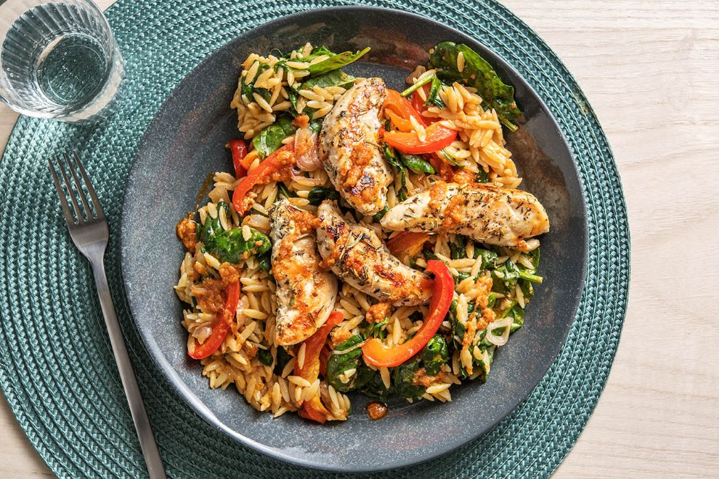 Herbed Chicken Tenders with spinach Parmesan orzo