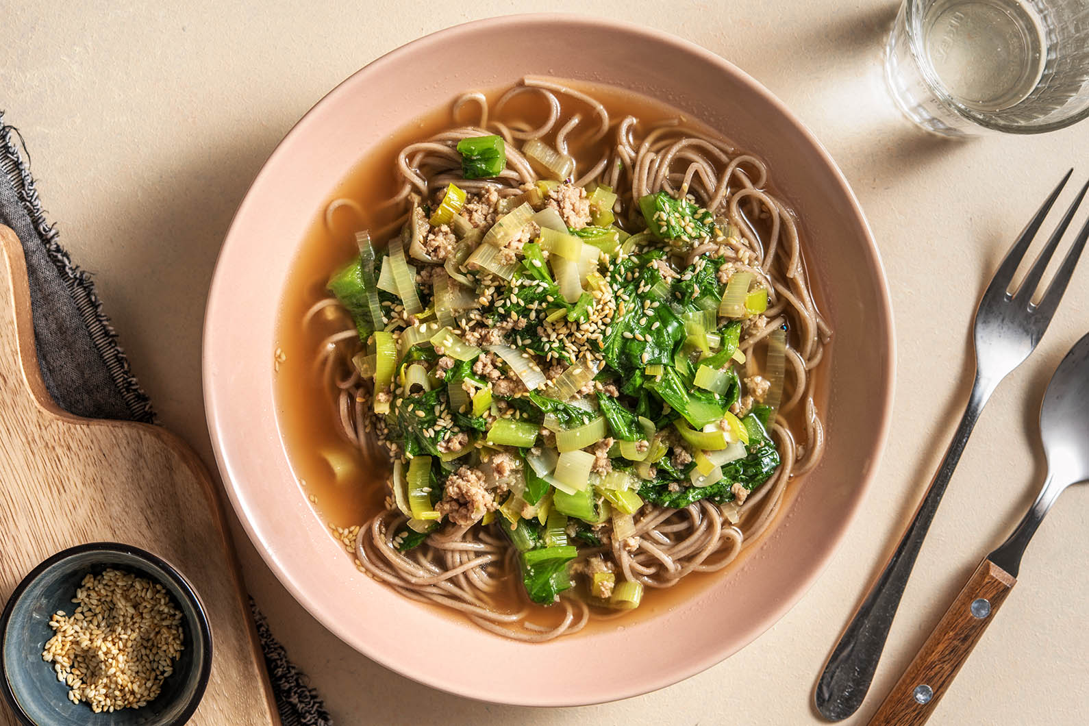 Japanese Sesame Pork Soup with soba noodles and gai lan