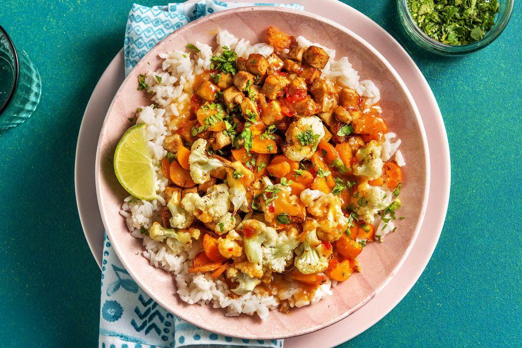 Spicy Satay Tofu with roasted cauliflower and garlic rice