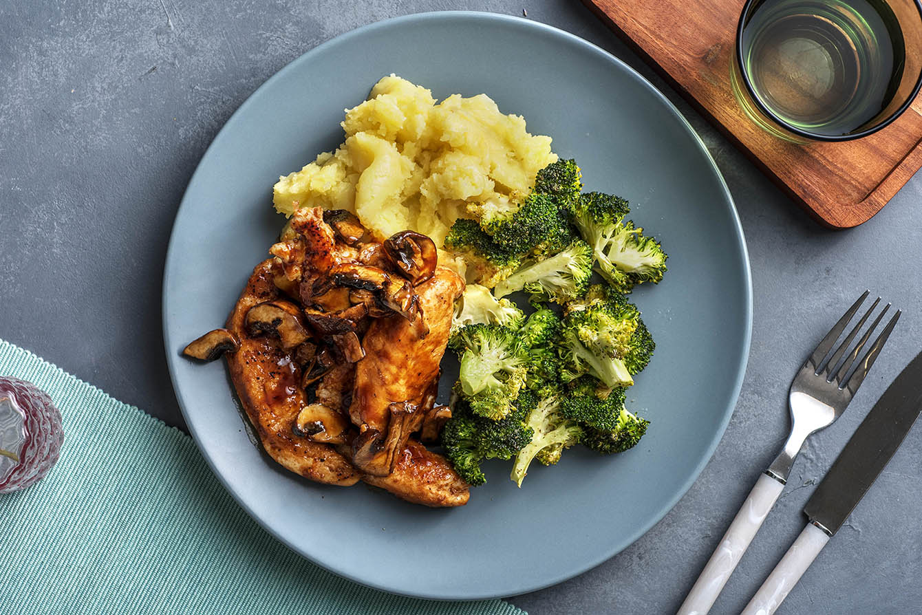 Chicken with Mushroom Pan Sauce with mashed potatoes and roasted broccoli