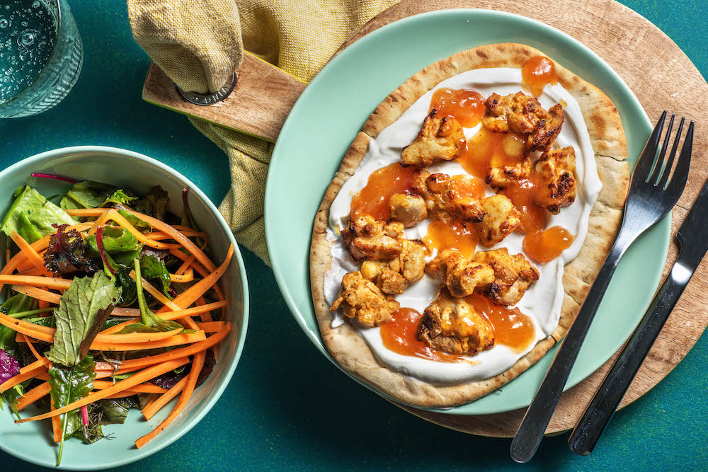 Tandoori Chicken with naan and carrot salad