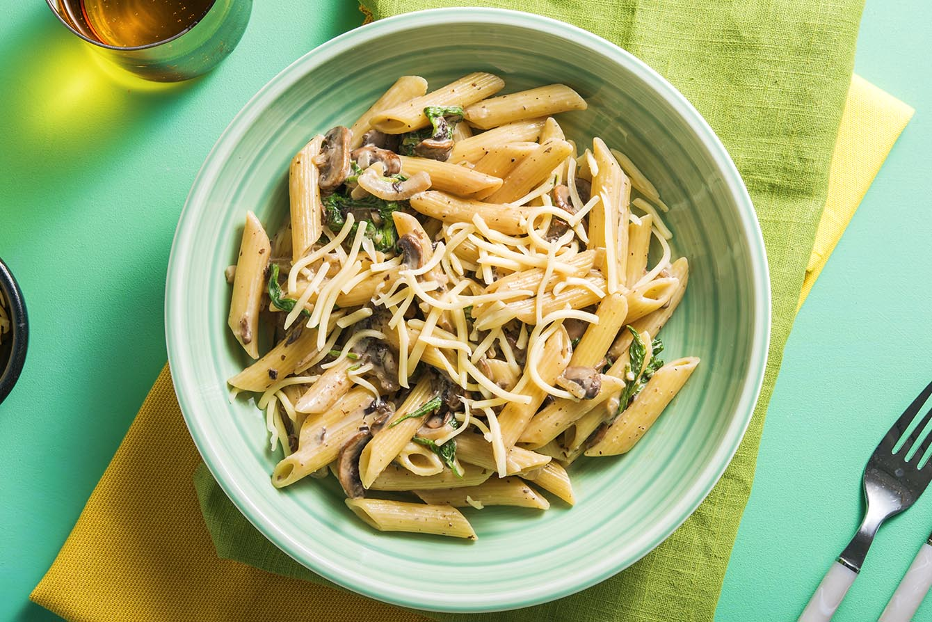 Creamy Mushroom Pasta with aged cheddar and baby spinach
