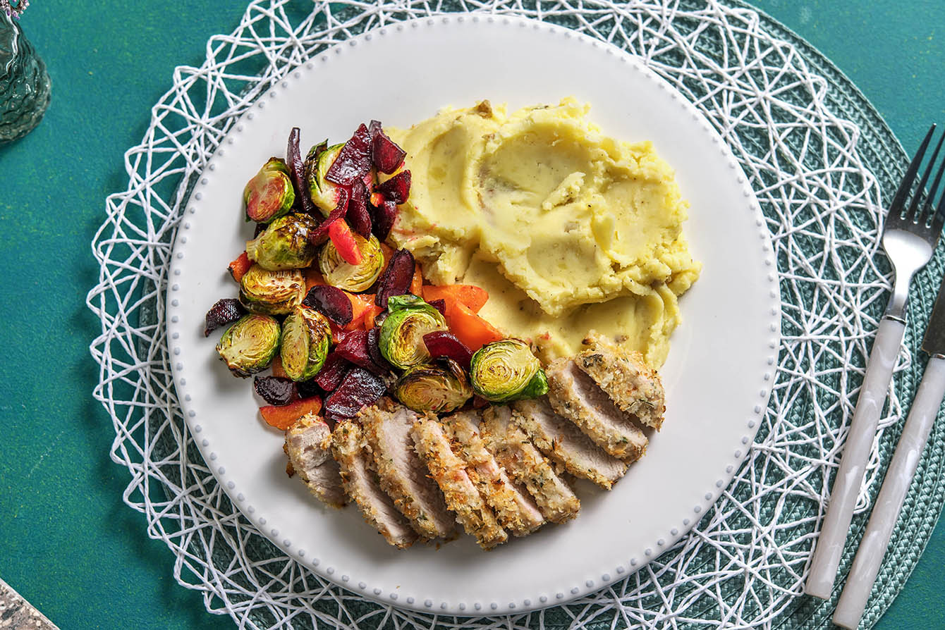 Panko Crusted Pork Chops with roasted root vegetables and mashed potatoes