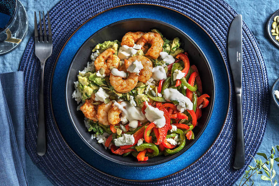 Smoky Shrimp & Avocado Chimichurri with charred peppers