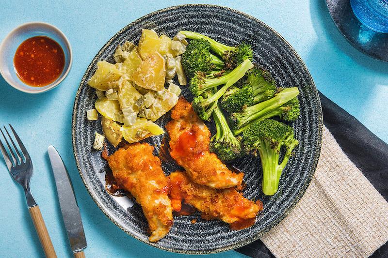Hot Honey Buffalo Chicken with warm potato salad and roasted broccoli