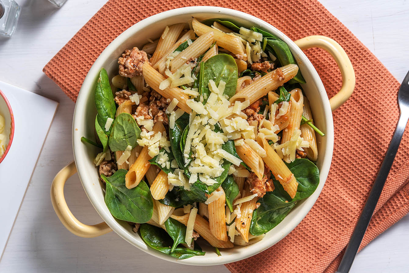 Turkey Florentine Penne with Parmesan and aged cheddar