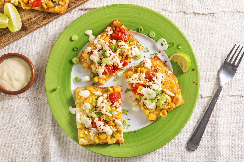 Two-Cheese Mexican Street Corn Flatbreads with charred corn and lime aioli