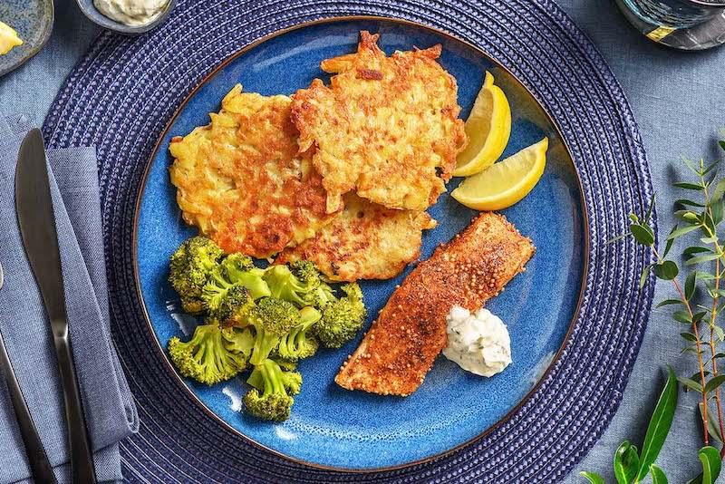 Pastrami-Spiced Salmon & Latkes with dill sour cream