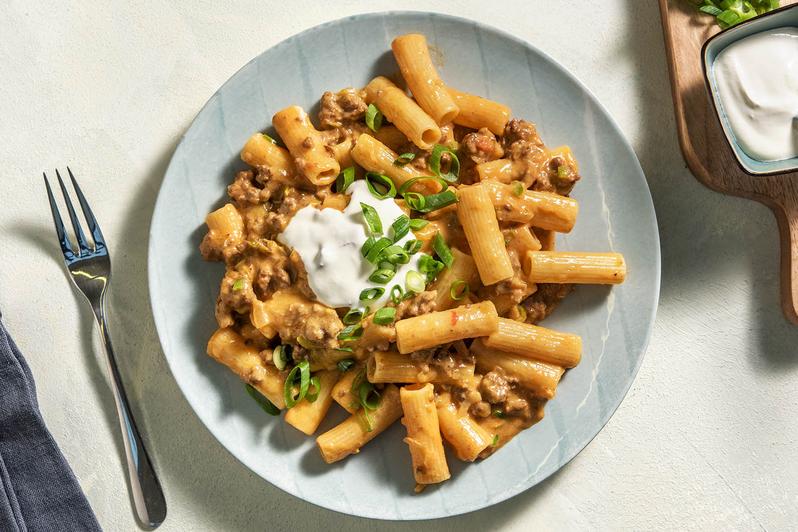 Tex-Mex Beef Mac and Cheese with poblano peppers
