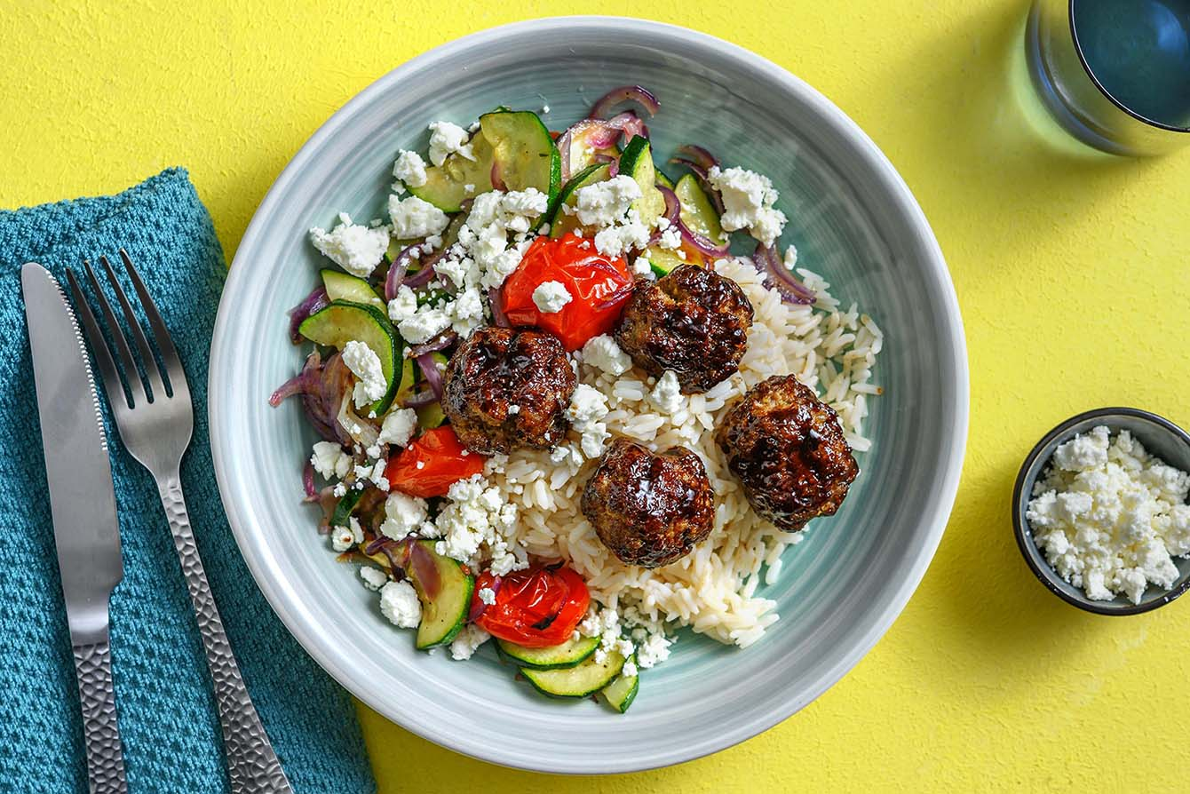 Mediterranean Meatballs with roasted veggies and lemon rice