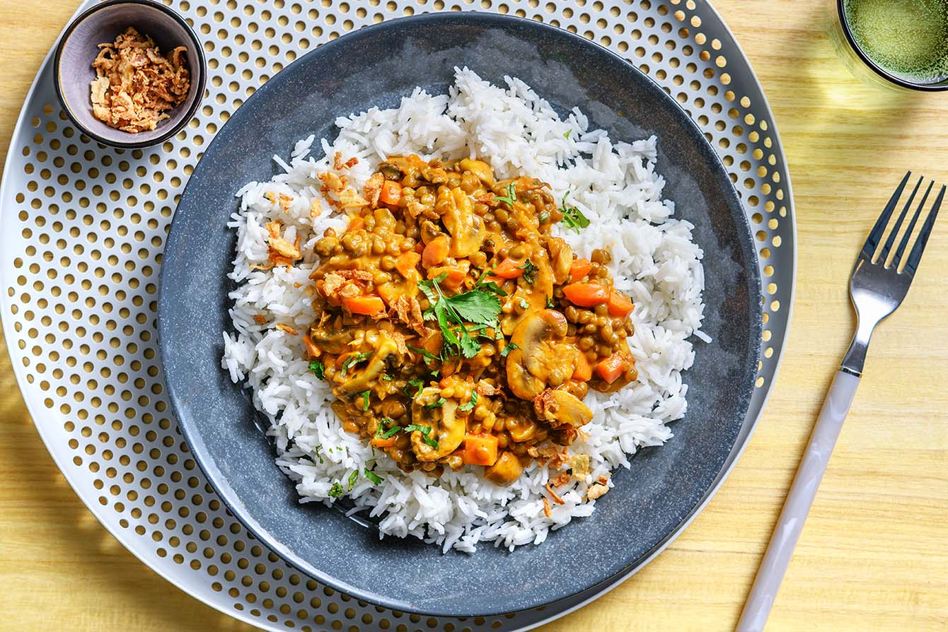 Indian Mushroom Korma Curry with lentils and basmati rice