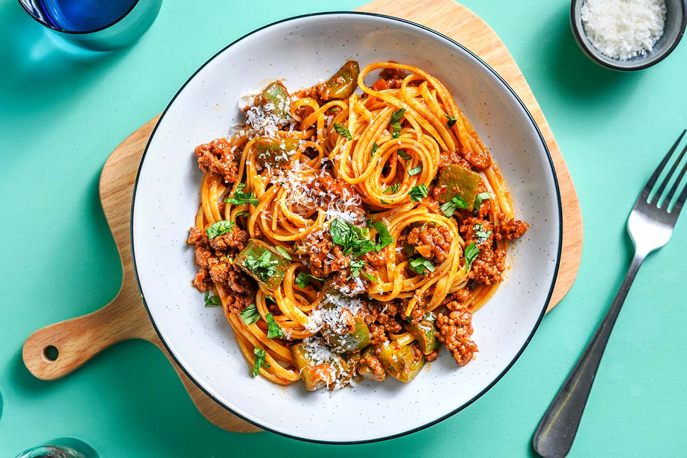 Classic Beef Bolognese with linguine pasta and parmesan cheese