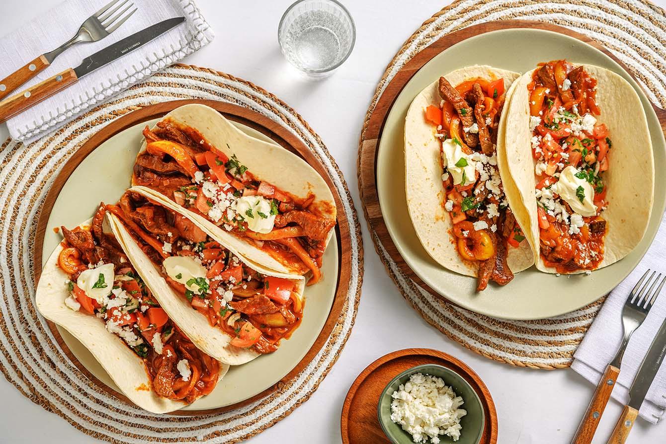 Slow Cooker Beef Barbacoa-Style Tacos with pico de gallo