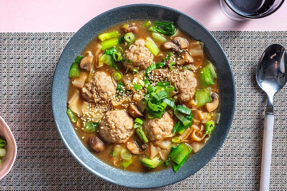Chinese Pork Meatball Soup with mushrooms and wonton noodles