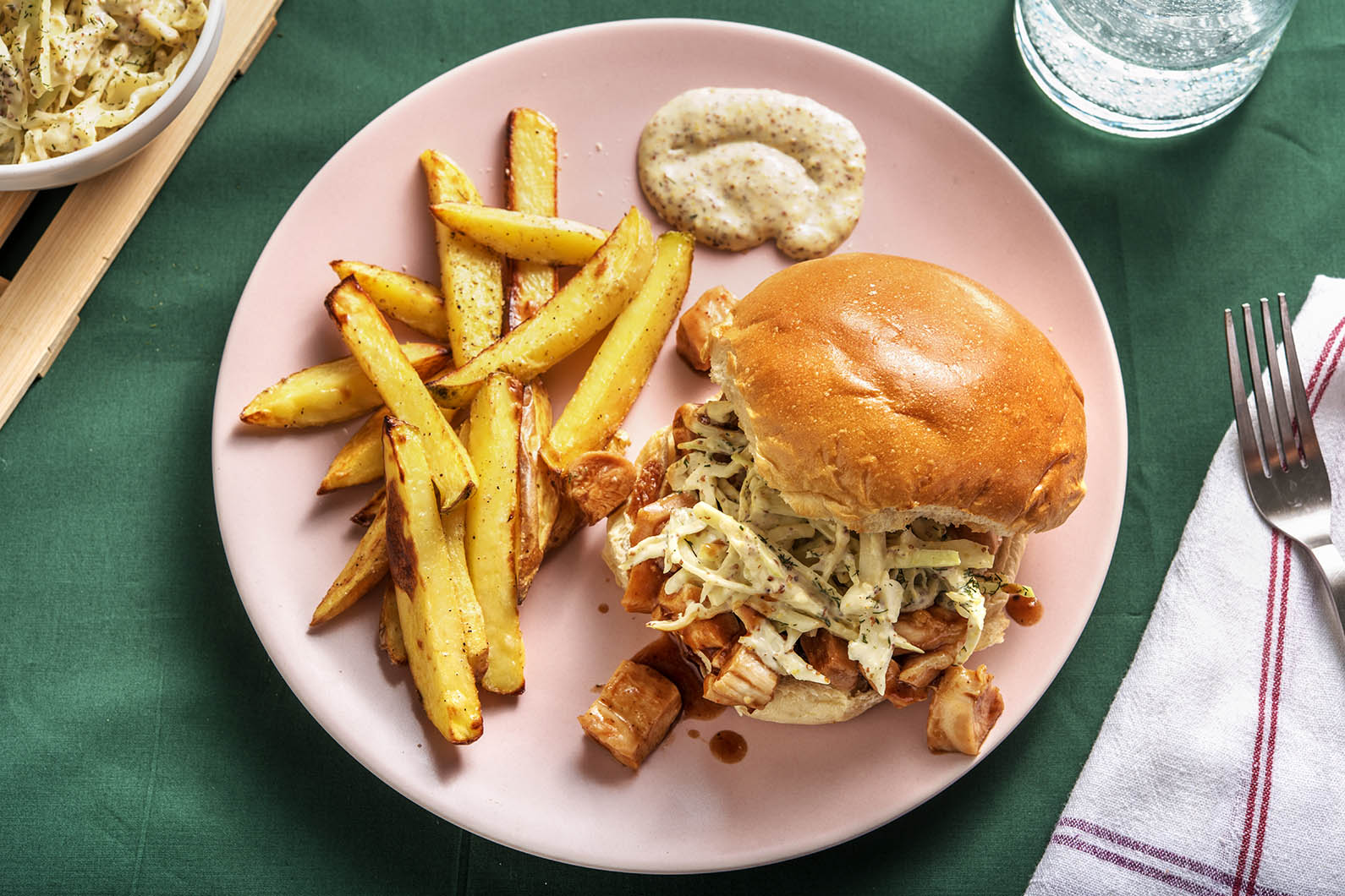 BBQ Chicken Sandwiches with oven fries and dilly slaw