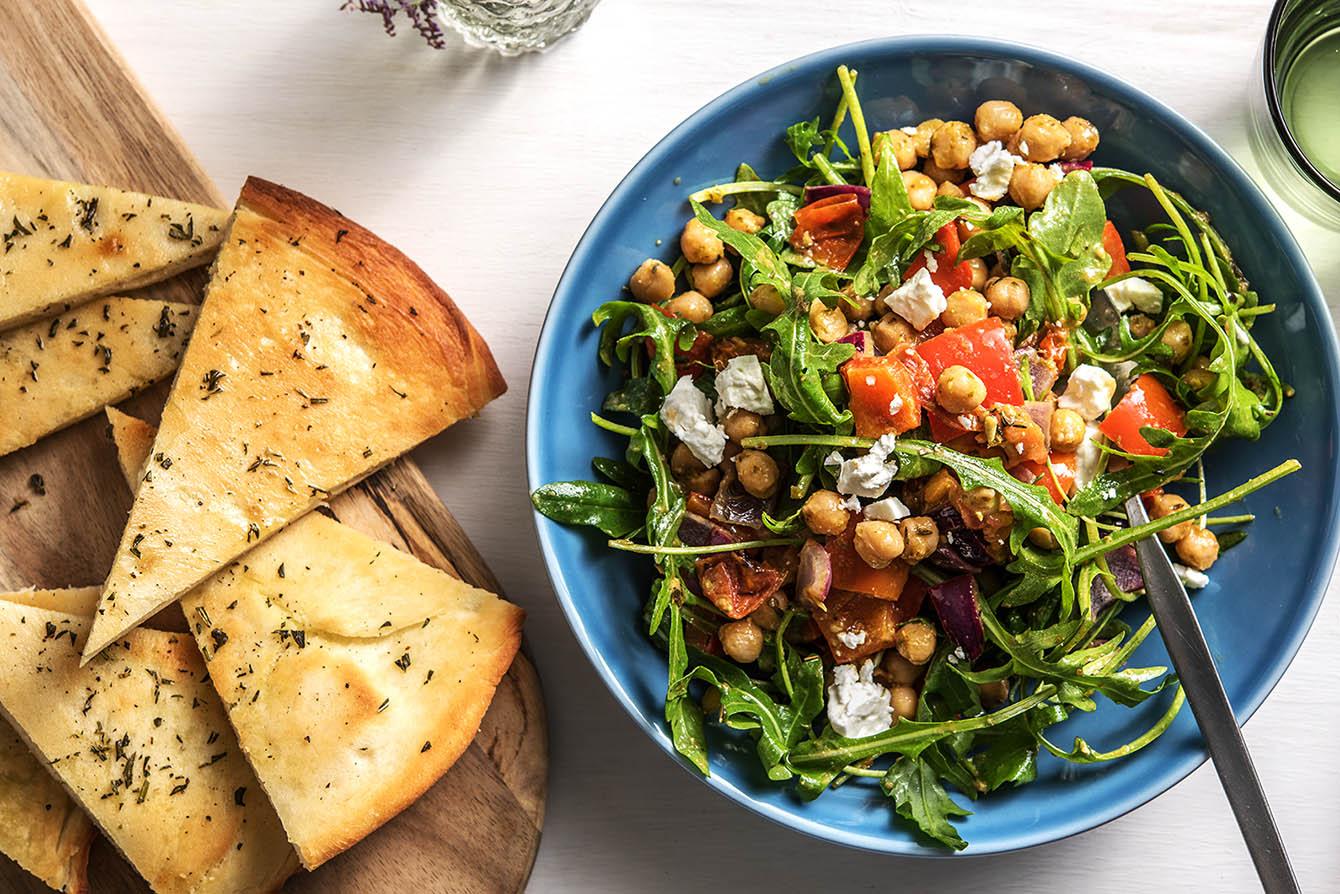 Warm Pesto Chickpea Salad with rosemary garlic focaccia